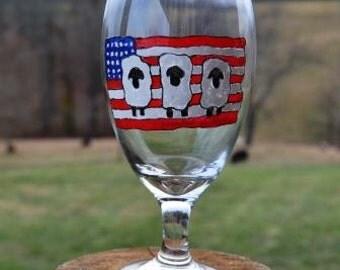 Patriotic Sheep Drinking Glass