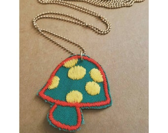 Vintage upcycled mushroom patch necklace- embroidered patch necklace- green mushroom