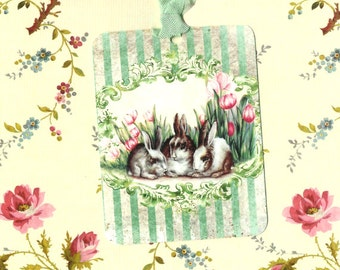 Tags, Rabbit Tags, Bunny, Tulips, Springtime Tags, Easter
