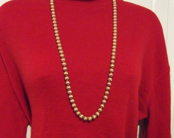 Trifari Crown Gold Brushed Bead Necklace