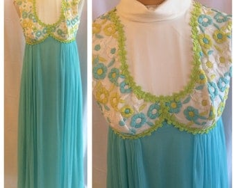 1960s 1970s Chiffon Daisy Maxi Hippie Prom Dress