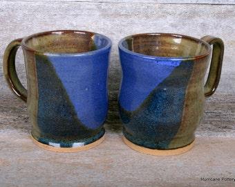 Pair of Small Ceramic Cups. Hand Thrown Stoneware Pottery. Small Coffee Mugs. Espresso Mugs.