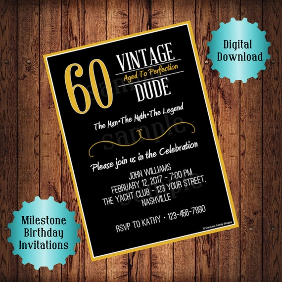 Vintage Dude Aged To Perfection Printable DIY Birthday