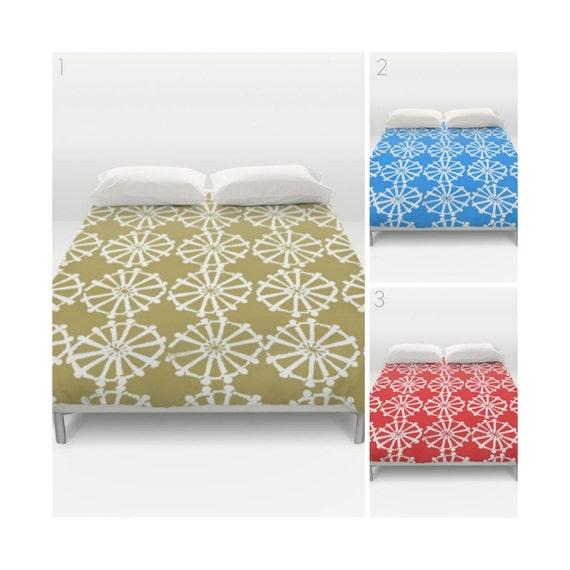 Modern Duvet Cover . Gold duvet cover . white . Red duvet cover . queen duvet cover . king duvet cover . Sky blue Twin XL bedding set