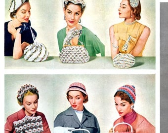 Hiawatha Hats and Bags Crochet Beads Glitter Metallic Straw Thread Purses Vintage 1950s Designs by Melina Craft Pattern Leaflet 117
