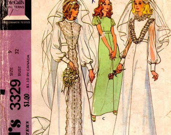 Junior Bride Bridesmaid Dress Gown Capped Variable Sleeve Length High Waist Long Hem Size 9 / 32 Uncut Unused Sewing Pattern McCall's 3329