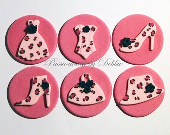 12 Fondant edible cupcake toppers - Fashion pink leopard purse shoe bodice bustier hat dress boot bootie