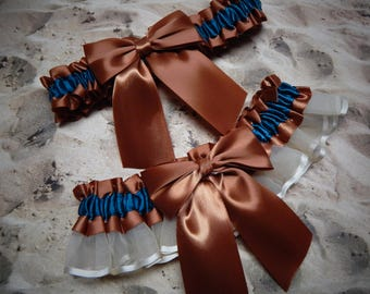 Copper Satin Teal Ribbon ivory organza Bridal Wedding Garter Set Toss