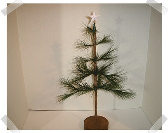 Primitive Feather Pine Tree with Glittered Star /Home Decor/ Supplies*
