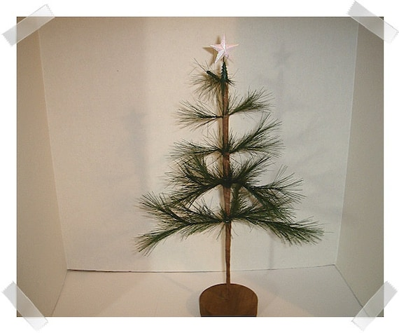 Primitive Feather Pine Tree With Glittered Star /Home Decor/
