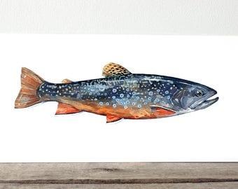 Brook Trout Original Watercolor Painting, fish art