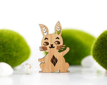 Bunny Brooch, Rabbit Brooch, Wooden Rabbit Brooch, Easter Bunny