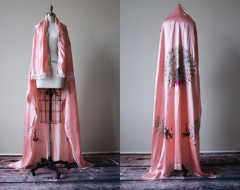 Vintage 20s Piano Shawl - 1920s Peach-Pink Embroidered Silk Charmeuse Satin Wrap w Flapper Fringe - Peacock Strut Shawl