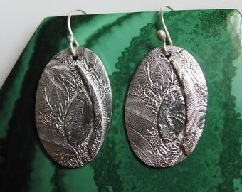 Oval Fine Silver Earrings with Applique