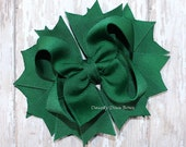 FOREST GREEN Hair Bow, Classic Green Bow, Boutique Hair Bow, Toddler Hair Bow, Girls Bow, Handmade Bow, Everyday Bow, Hairbow, School Bow