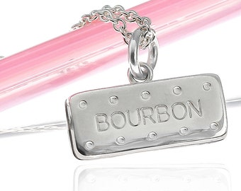 Sterling Silver Bourbon Biscuit Necklace | Silver Biscuit Necklace | British Biscuit Necklace | Tea and Biscuit Jewellery