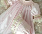 Private Listing for Rebecca  Pastel Blue Heirloom Hand Smocked Dress and Matching  Bonnet