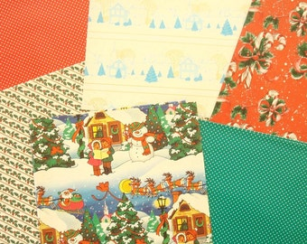 Vintage 50s Christmas gift wrap, wrapping paper, 9 big sheets, holly, candy canes, polka dot, paper ephemera, decoupage, scrapbook paper