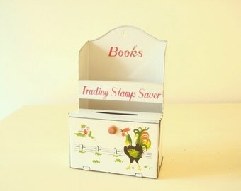 Vintage tin Trading Stamp Saver, Green Stamps Book holder, white litho tin, working door, rooster graphic, mid-century housewife film prop