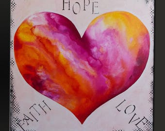 Hope Faith Love - 36x36 - Large Abstract Painting - Contemporary Wall Art Canvas