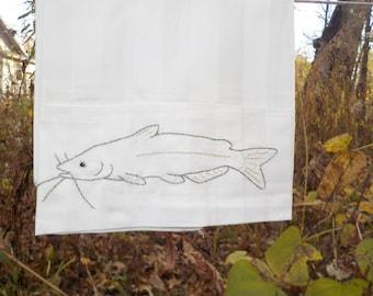 Catfish standard pillowcase- hand stitched