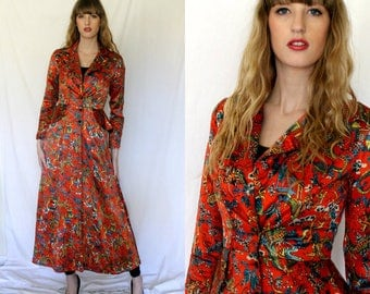 Early Ossie Clark Red Coat Dress - 1960s Vintage - Silk Chinese Print - Women - XS  S