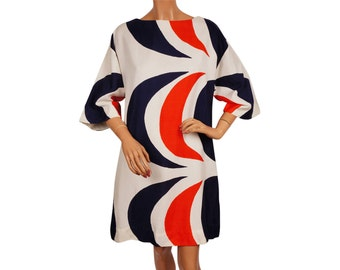 Vintage 1960s MOD Dress - Red White and Blue - Optic Print
