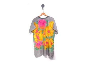BTS SALE Vintage 80s Oversized Floral tunic Blouse women m l xl vestiesteam retro beachwear Hawaii indie hipster mini dress
