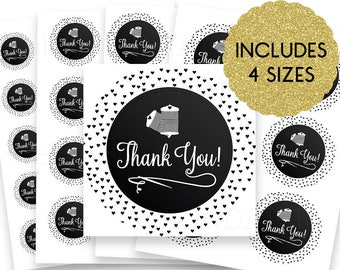 30% OFF SALE Thank You Stickers - Thank You Tags - Thank You Labels - Round Thank You Stickers - Small Thank You Tags - Sewing 6-16