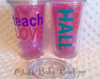 Teach Love Inspire - teacher gift - tumbler