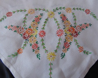 Pure Irish linen hand embroidered table cloth flowers tea time afternoon tea vintage