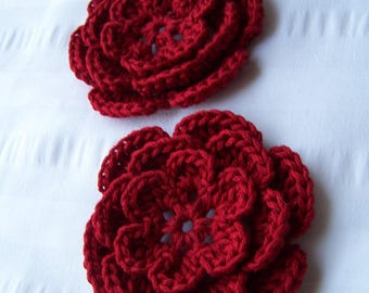 Crocheted flowers motif 3 inch applique red  set of 2