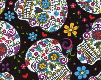 Skulls Day of the Dead Sugar Skull Black Cotton Fabric by David Textiles - By the Yard - red version available too
