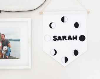 Moon Phases Custom Name Large Wall Hanging . Moon Phase Wall Banner . Personalized Baby Name Flag . Monochrome Nursery Decor . Moon Cycle