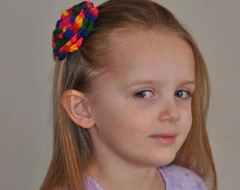 Hand made crocheted Rainbow Flower Barrette - Bright Colored Barrette