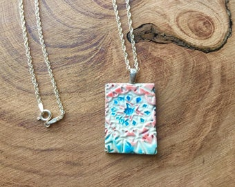 Raku pendant with sterling silver chain