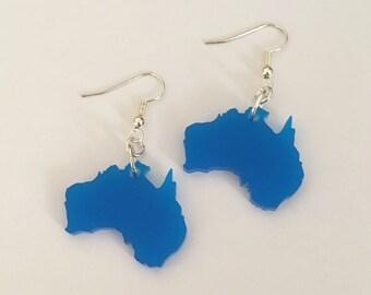Australia Earrings in Blue Acrylic, Dangle Earrings, Gift for Her, Lasercut Jewelry