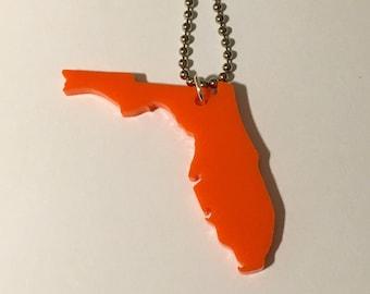 State Necklace - Florida Necklace - Orange Acrylic