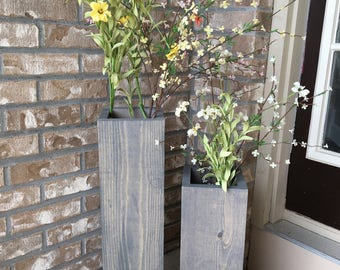 large wooden vases, reclaimed wood, floor vases, set of two, farmhouse decor, rustic porch vases, wooden flower pots