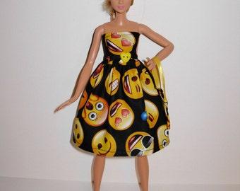 Handmade barbie clothes, CUTE Emoji dress and bag for new barbie tall doll