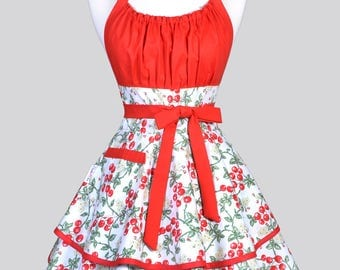 Womens Flirty Chic Apron - 50s Style Red Cherries on White Cute Retro Vintage Style Pin Up Kitchen Cooking Apron with Pocket and Full Skirts