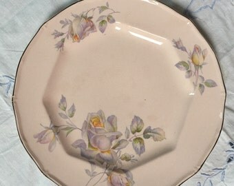 1930s Taylor Smith Taylor rose dinner plate