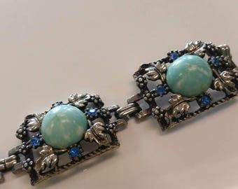 Beautiful Vintage Blue Link Bracelet