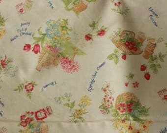 Spring and Summer Flowers  Yuwa Cotton Fabric FO826105A on a Cream Background