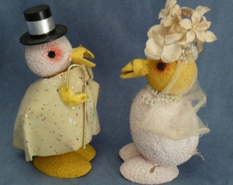 Easter Composition Chick Wedding Couple Mica Paper Mache Man & Lady Chicken