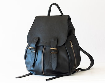 Black leather backpack for women, travel backpack back bag daypack knapsack everyday large  - Artemis backpack
