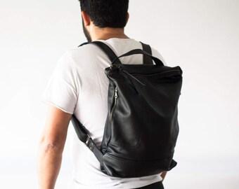 Backpack in black leather unisex, simple backpack bag everyday bag backpack laptop 13 back bag-The Minos Bag