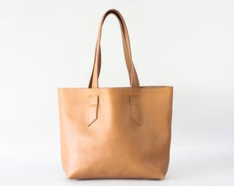 Leather tote in nude beige, raw edge leather bag shopper bag womens large market purse unlined leather tote  - Calisto bag