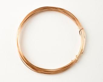 Rose Gold Filled Round Half Hard Wire - 18, 20, 22, 24, 26 gauge, Made in USA