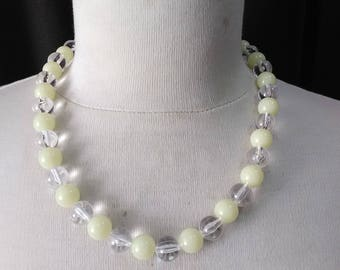 Retro yellow and clear   beads necklace ready to ship